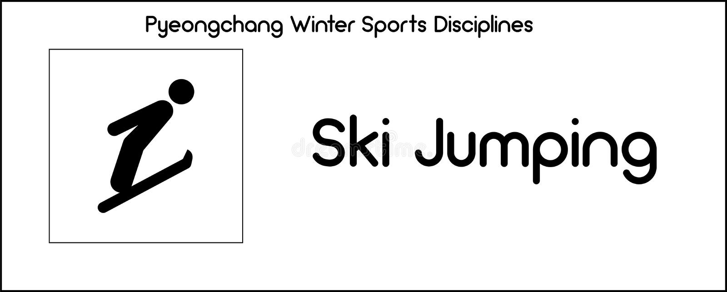 Εικονίδιο που απεικονίζει την πηδώντας πειθαρχία σκι των παιχνιδιών χειμερινού αθλητισμού μέσα ελεύθερη απεικόνιση δικαιώματος