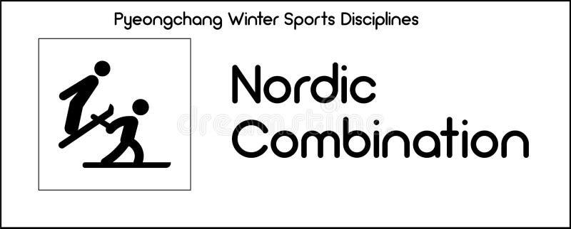 Εικονίδιο που απεικονίζει τη σκανδιναβική πειθαρχία συνδυασμού του χειμερινού αθλητισμού γ απεικόνιση αποθεμάτων