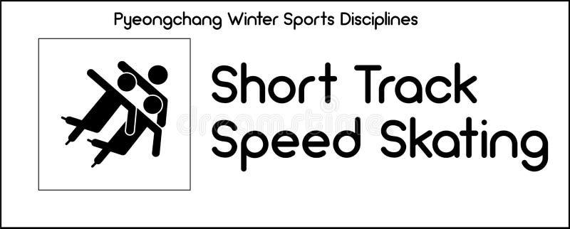 Εικονίδιο που απεικονίζει τη σύντομη πειθαρχία πατινάζ ταχύτητας διαδρομής του χειμώνα SP απεικόνιση αποθεμάτων