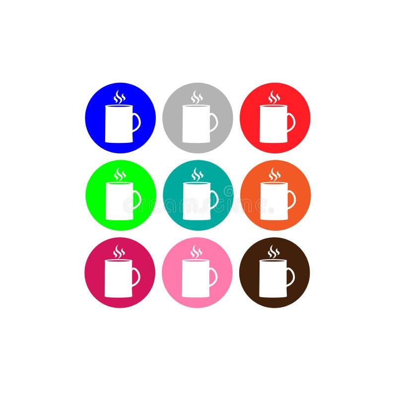 Εικονίδιο που τίθεται πολύχρωμο με την κούπα Εικονίδιο του προγεύματος ελεύθερη απεικόνιση δικαιώματος