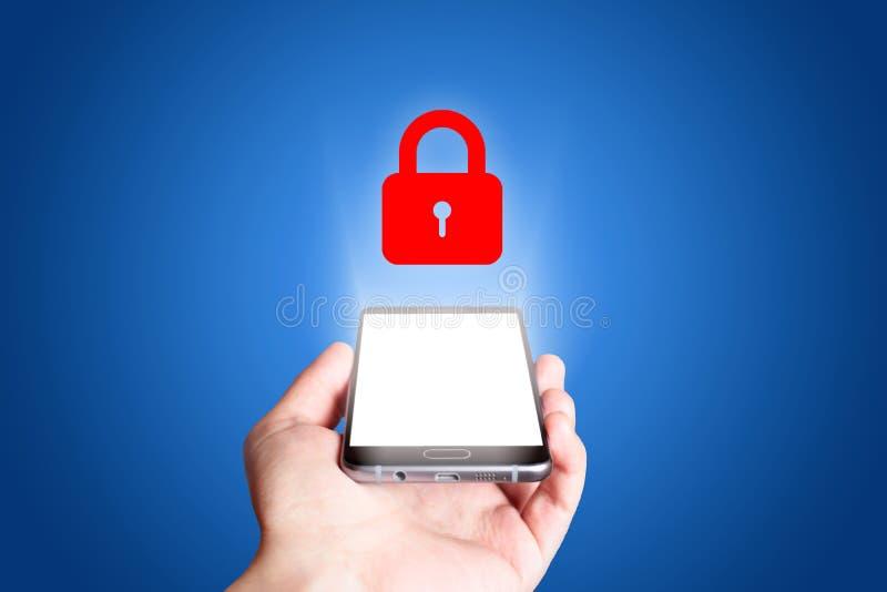 Εικονίδιο προστασίας μπλε κινητό τηλέφωνο ανασ&kapp στοκ εικόνα με δικαίωμα ελεύθερης χρήσης