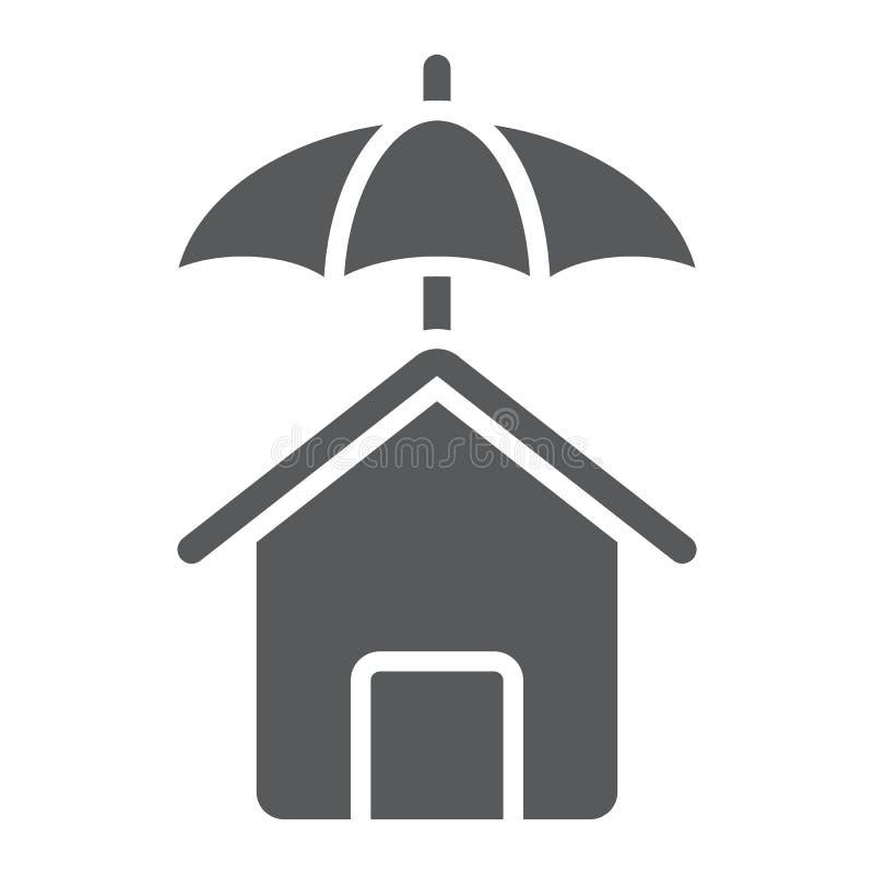Εικονίδιο προστασίας σπιτιών glyph, ακίνητη περιουσία και σπίτι απεικόνιση αποθεμάτων