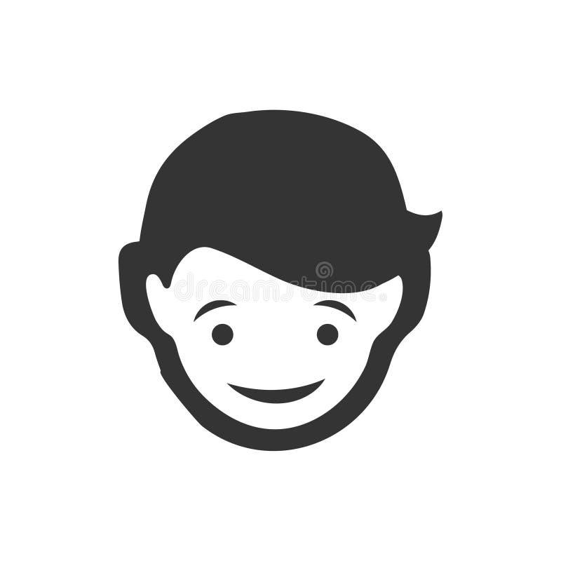 Εικονίδιο προσώπου αγοριών διανυσματική απεικόνιση