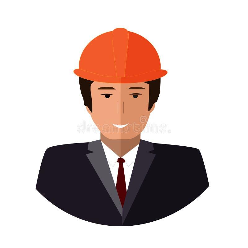 Εικονίδιο προσώπου εργατών οικοδομών Επίπεδη απεικόνιση μηχανικών απεικόνιση αποθεμάτων
