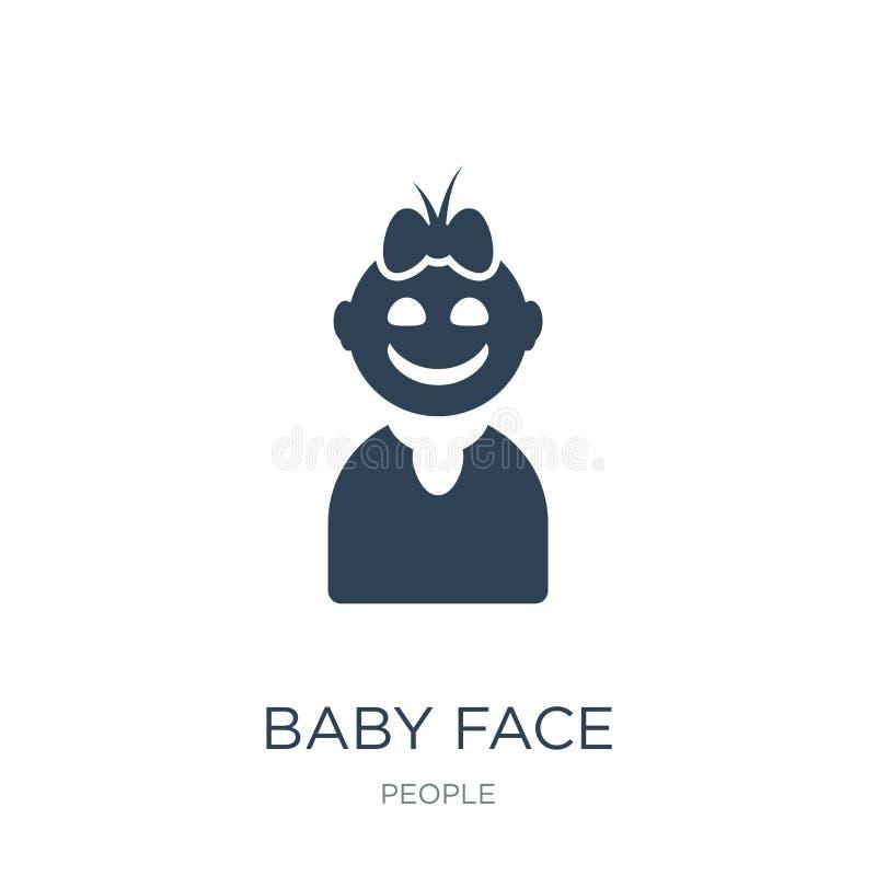εικονίδιο προσώπου μωρών στο καθιερώνον τη μόδα ύφος σχεδίου εικονίδιο προσώπου μωρών που απομονώνεται στο άσπρο υπόβαθρο μωρών α ελεύθερη απεικόνιση δικαιώματος