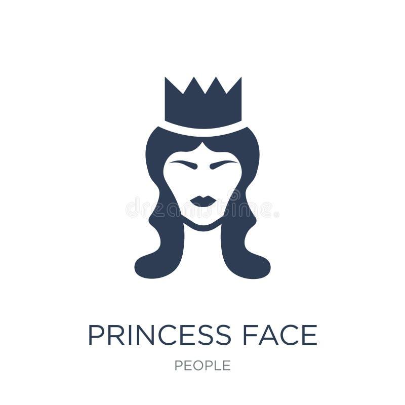 Εικονίδιο προσώπου πριγκηπισσών Καθιερώνον τη μόδα επίπεδο διανυσματικό εικονίδιο προσώπου πριγκηπισσών στο whi απεικόνιση αποθεμάτων