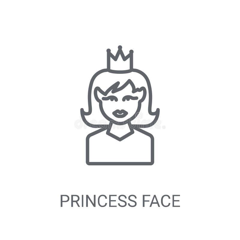 Εικονίδιο προσώπου πριγκηπισσών Καθιερώνουσα τη μόδα έννοια λογότυπων προσώπου πριγκηπισσών στο άσπρο β απεικόνιση αποθεμάτων