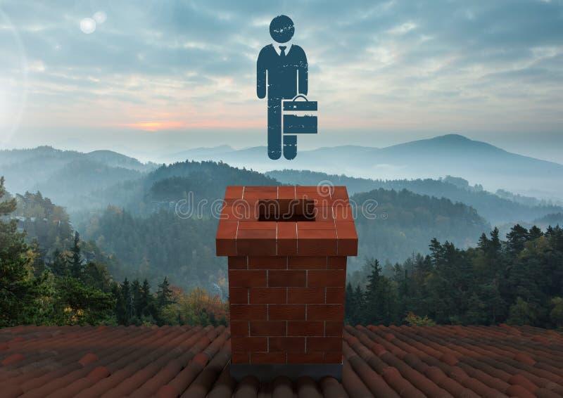Εικονίδιο προσώπων με το χαρτοφύλακα και στέγη με την καπνοδόχο και το misty τοπίο στοκ εικόνες