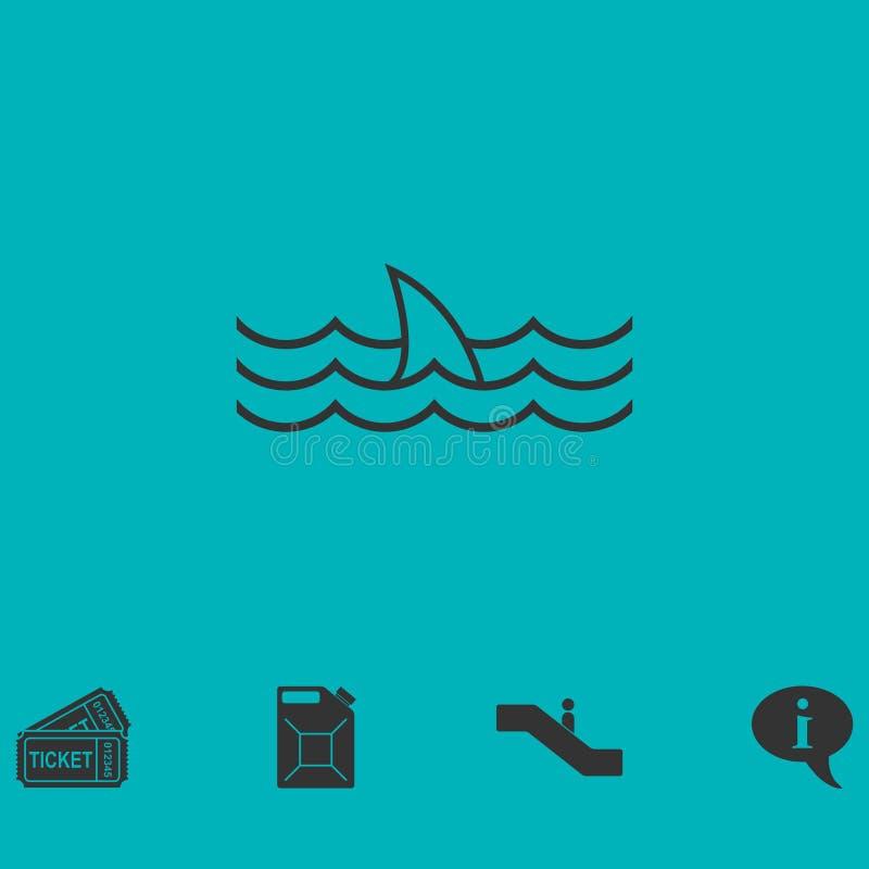 Εικονίδιο πτερυγίων καρχαριών επίπεδο απεικόνιση αποθεμάτων