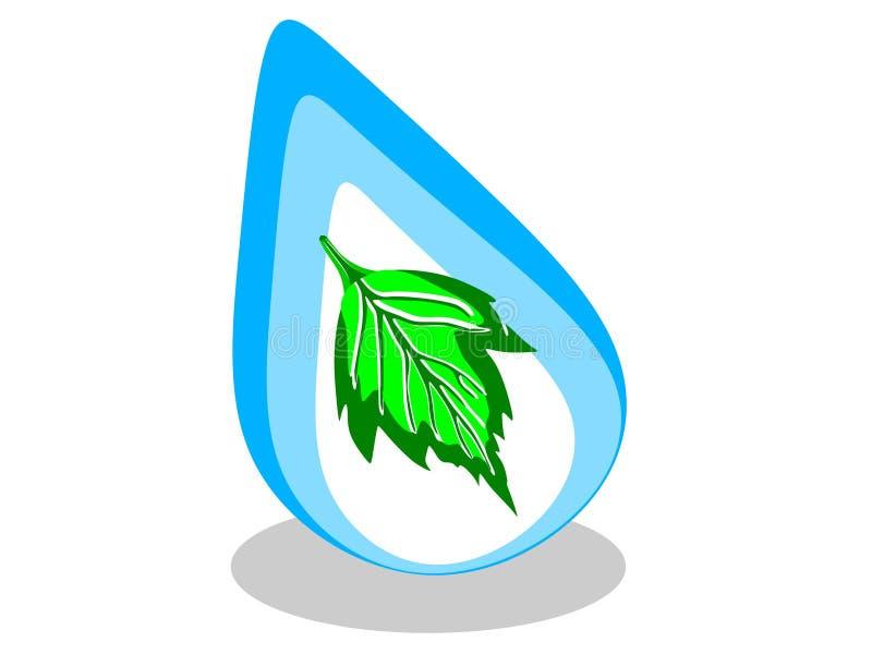 Εικονίδιο πτώσης νερού με ένα φύλλο μέσα και στο διανυσματικό μπλε λογότυπο με πράσινο - διάνυσμα απεικόνιση αποθεμάτων