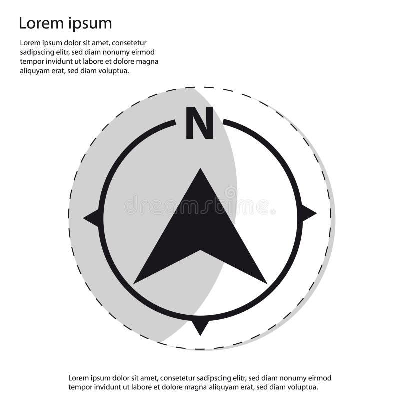 Εικονίδιο πυξίδων βόρειας κατεύθυνσης - διάνυσμα αυτοκόλλητων ετικεττών γραφικό ελεύθερη απεικόνιση δικαιώματος
