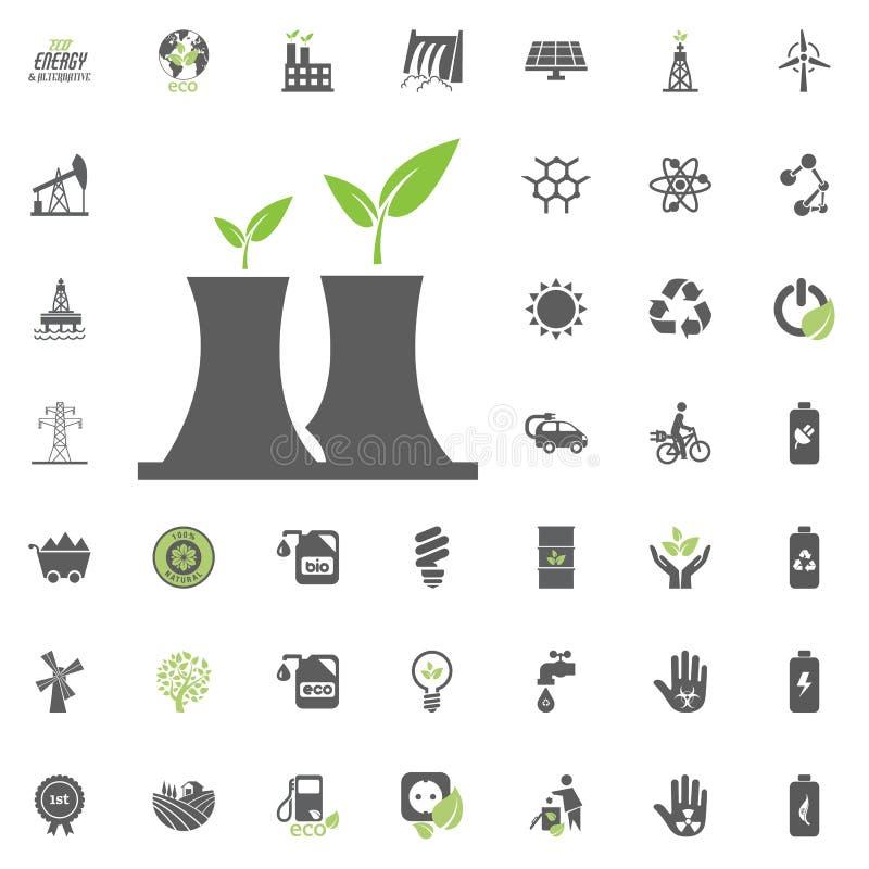 Εικονίδιο πυρηνικού σταθμού Διανυσματικό σύνολο εικονιδίων Eco και εναλλακτικής ενέργειας Καθορισμένο διάνυσμα των πόρων δύναμης  ελεύθερη απεικόνιση δικαιώματος