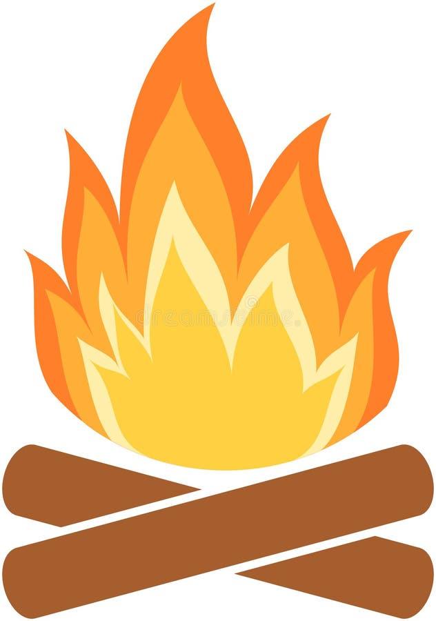 Εικονίδιο πυρκαγιάς στρατόπεδων Φλόγα απεικόνιση αποθεμάτων