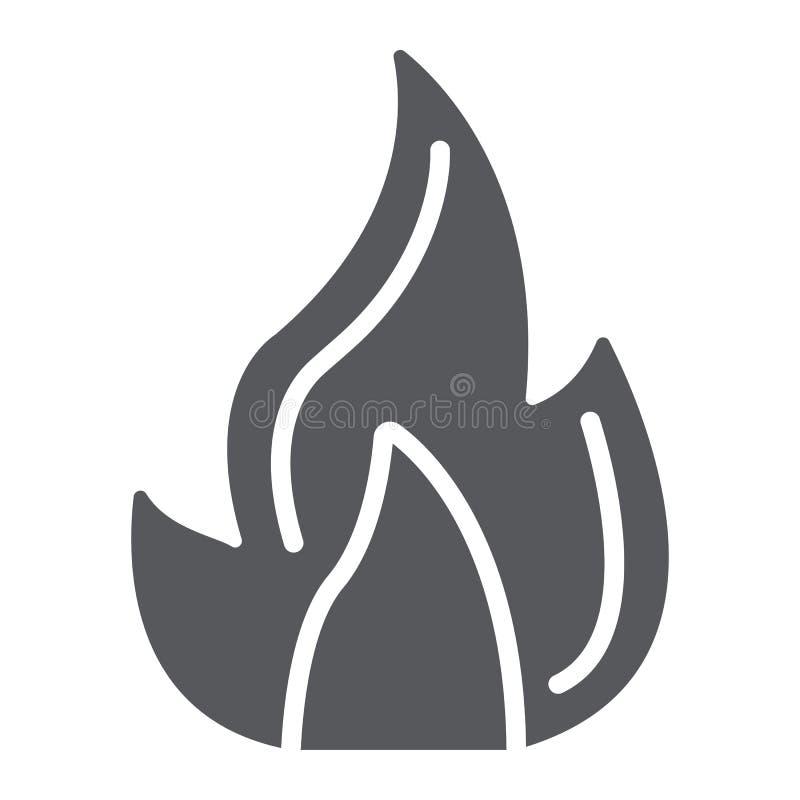 Εικονίδιο πυρκαγιάς glyph, πυρά προσκόπων και φλόγα, σημάδι φωτιών, διανυσματική γραφική παράσταση, ένα στερεό σχέδιο σε ένα άσπρ απεικόνιση αποθεμάτων