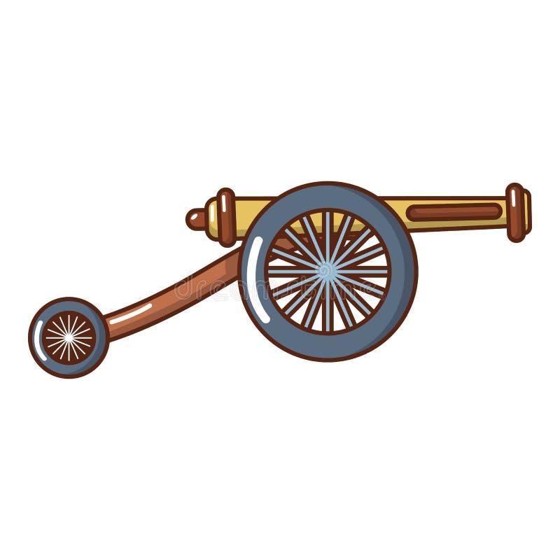Εικονίδιο πυροβόλων πυροβολικού, ύφος κινούμενων σχεδίων διανυσματική απεικόνιση