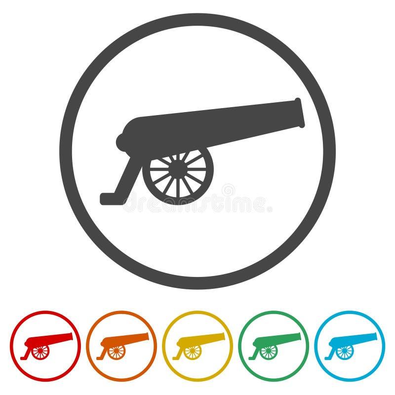 Εικονίδιο πυροβόλων, 6 χρώματα συμπεριλαμβανόμενα διανυσματική απεικόνιση