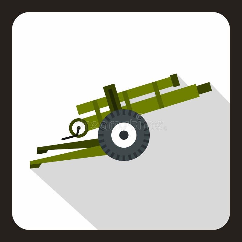 Εικονίδιο πυροβόλων όπλων πυροβολικού, επίπεδο ύφος απεικόνιση αποθεμάτων