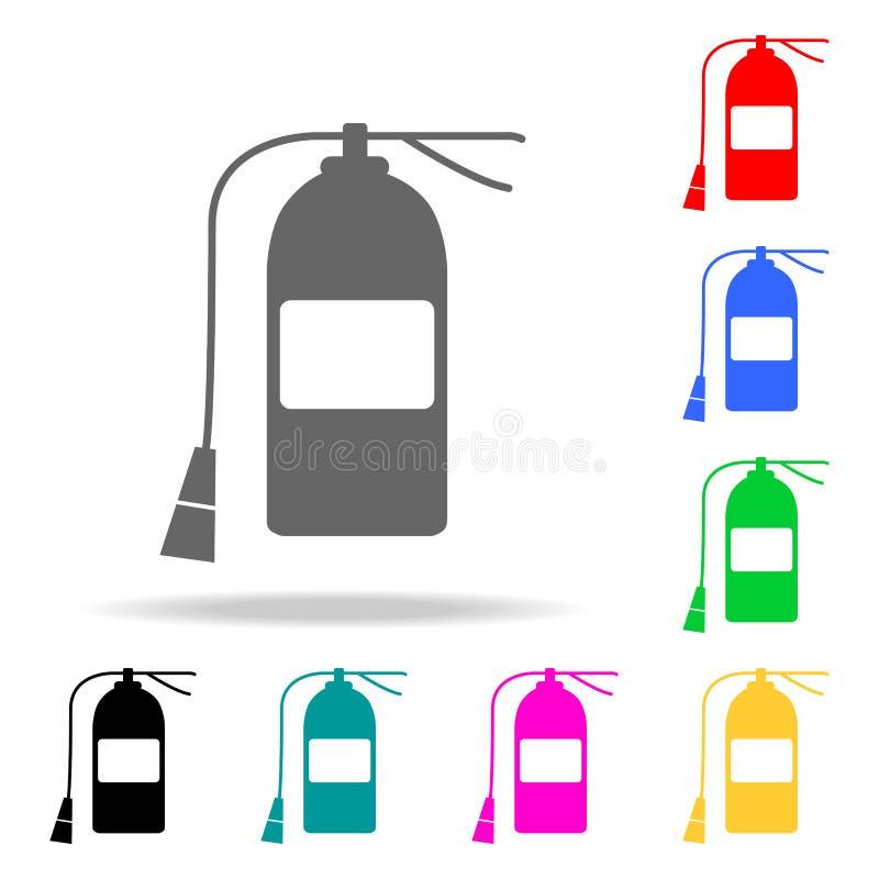 Εικονίδιο πυροσβεστήρων Πολυ χρωματισμένα εικονίδια πυροσβεστών στοιχείων για την κινητούς έννοια και τον Ιστό apps Εικονίδιο για ελεύθερη απεικόνιση δικαιώματος