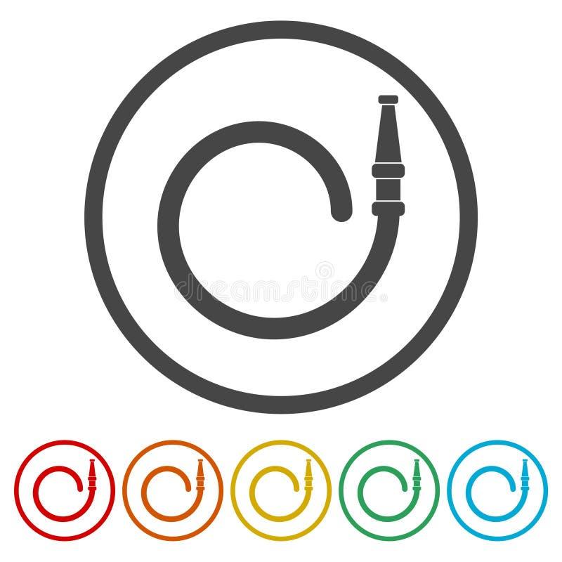 Εικονίδιο πυροσβεστικών σταθμών, εικονίδια υπηρεσιών πυρόσβεσης καθορισμένα, 6 χρώματα συμπεριλαμβανόμενα απεικόνιση αποθεμάτων
