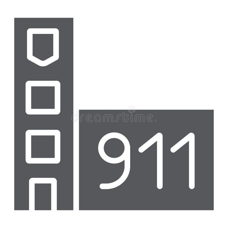 Εικονίδιο πυροσβεστικών υπηρεσιών glyph, κτήριο και γραφείο, σημάδι πυροσβεστικών σταθμών, διανυσματική γραφική παράσταση, ένα στ ελεύθερη απεικόνιση δικαιώματος
