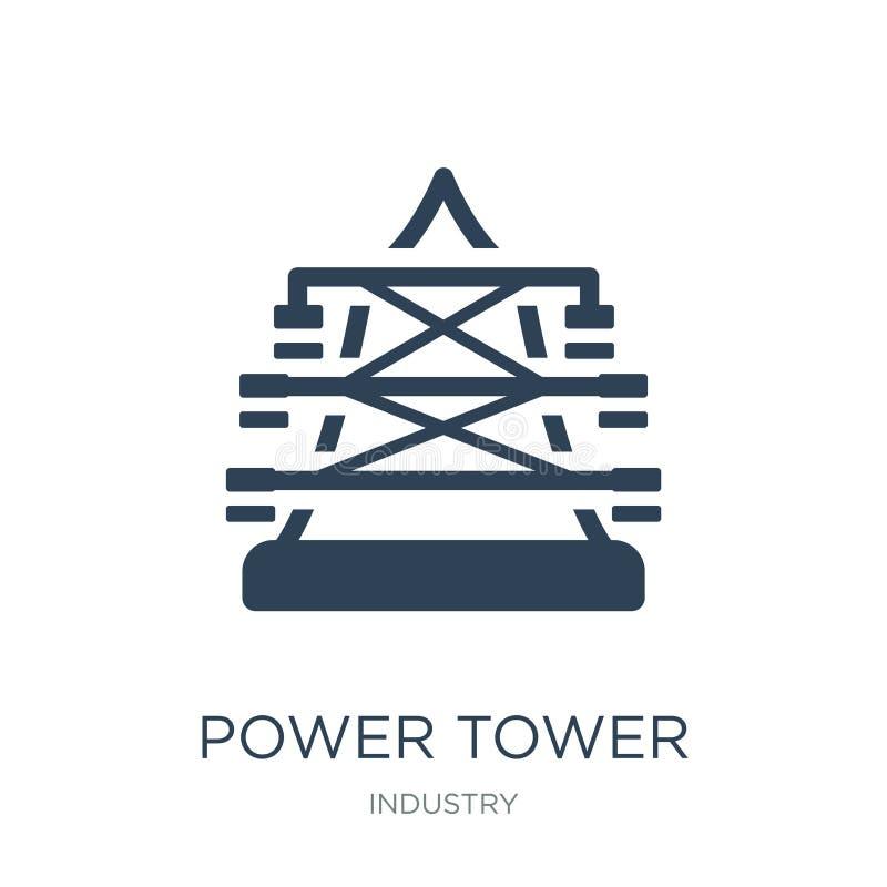 εικονίδιο πύργων δύναμης στο καθιερώνον τη μόδα ύφος σχεδίου εικονίδιο πύργων δύναμης που απομονώνεται στο άσπρο υπόβαθρο διανυσμ απεικόνιση αποθεμάτων