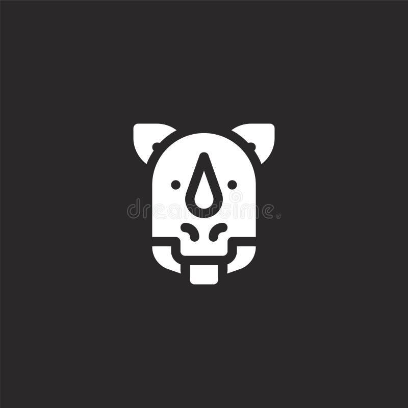 εικονίδιο ρινοκέρων Γεμισμένο εικονίδιο ρινοκέρων για το σχέδιο ιστοχώρου και κινητός, app ανάπτυξη εικονίδιο ρινοκέρων από τη γε διανυσματική απεικόνιση