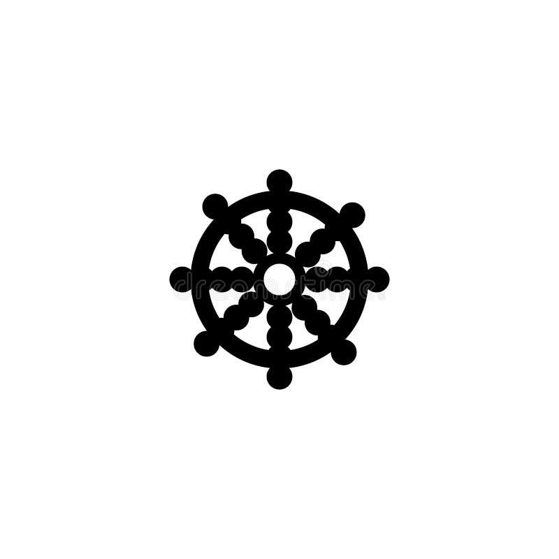 Εικονίδιο ροδών δράκων Στοιχείο του θρησκευτικού εικονιδίου πολιτισμού Γραφικό εικονίδιο σχεδίου εξαιρετικής ποιότητας Σημάδια, ε απεικόνιση αποθεμάτων