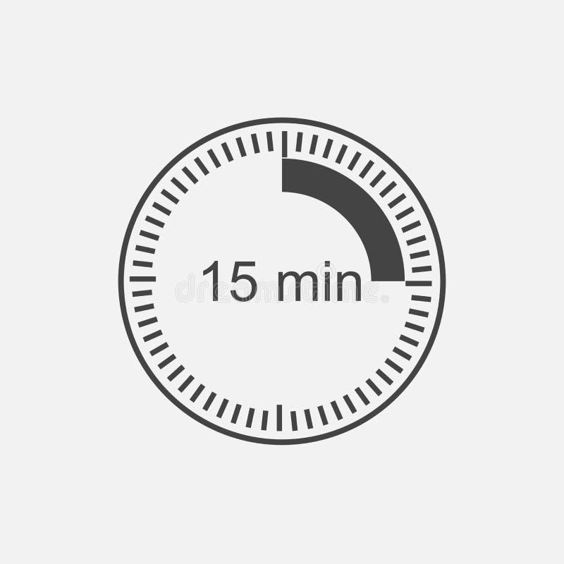 Εικονίδιο ρολογιών που δείχνει το χρονικό διάστημα 15 λεπτών Δεκαπέντε μ ελεύθερη απεικόνιση δικαιώματος