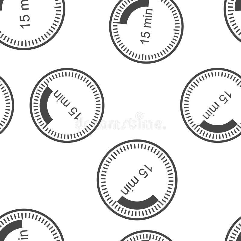 Εικονίδιο ρολογιών που δείχνει το χρονικό διάστημα 15 λεπτών Χρόνος δεκαπέντε λεπτών στο άνευ ραφής σχέδιο ρολογιών σε ένα άσπρο  απεικόνιση αποθεμάτων