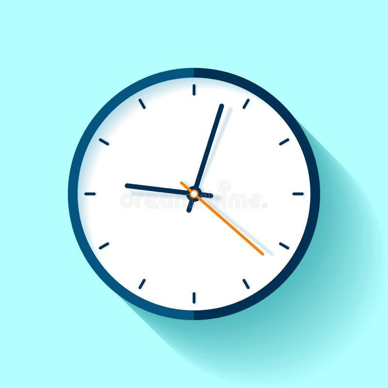 Εικονίδιο ρολογιών στο επίπεδο ύφος, στρογγυλό χρονόμετρο στο μπλε υπόβαθρο Απλό ρολόι Διανυσματικό στοιχείο σχεδίου για σας επιχ διανυσματική απεικόνιση