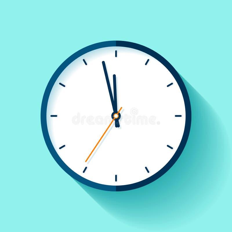 Εικονίδιο ρολογιών στο επίπεδο ύφος, στρογγυλό χρονόμετρο στο μπλε υπόβαθρο σχεδόν δώδεκα Απλό ρολόι Διανυσματικό στοιχείο σχεδίο ελεύθερη απεικόνιση δικαιώματος