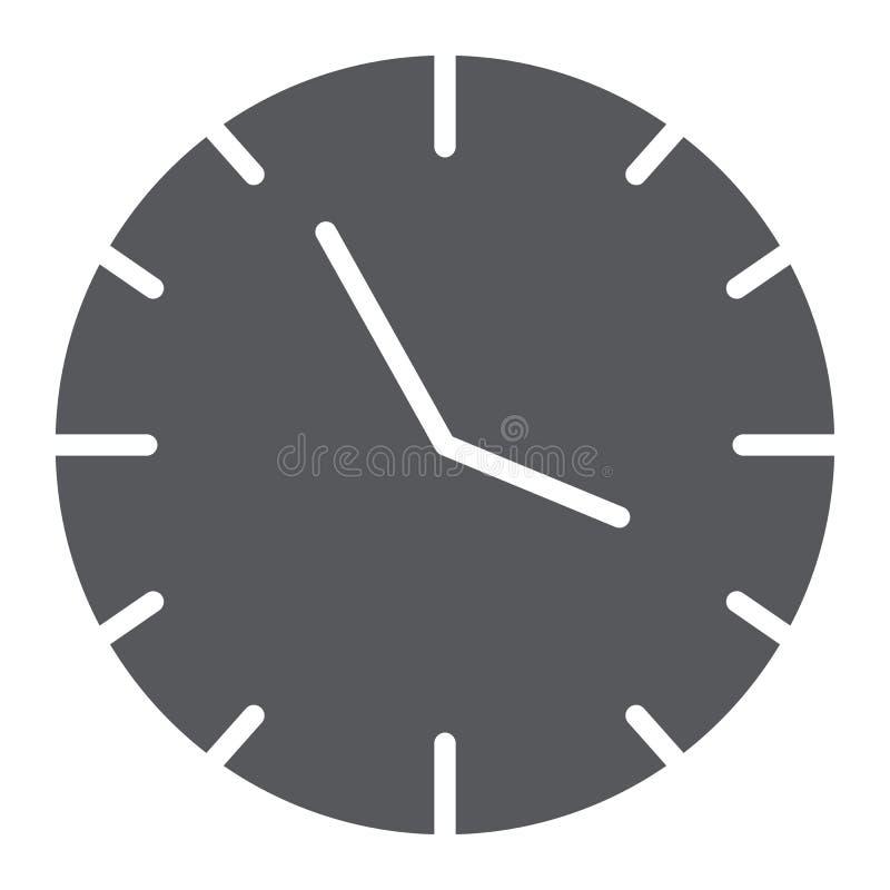 Εικονίδιο ρολογιών glyph, χρόνος και ώρα, σημάδι ρολογιών, διανυσματική γραφική παράσταση, ένα στερεό σχέδιο σε ένα άσπρο υπόβαθρ ελεύθερη απεικόνιση δικαιώματος