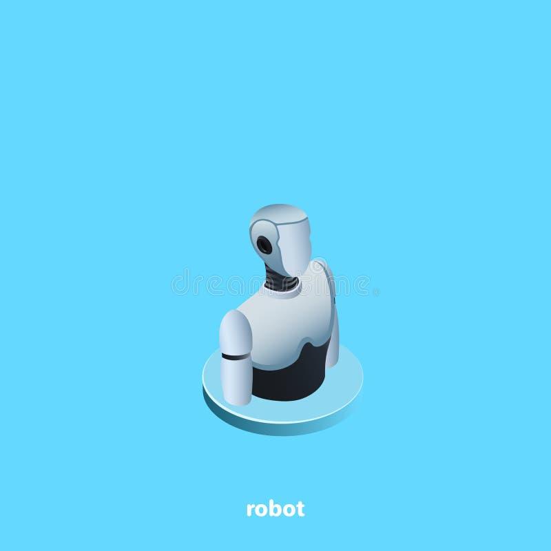 Εικονίδιο ρομπότ σε ένα μπλε υπόβαθρο απεικόνιση αποθεμάτων