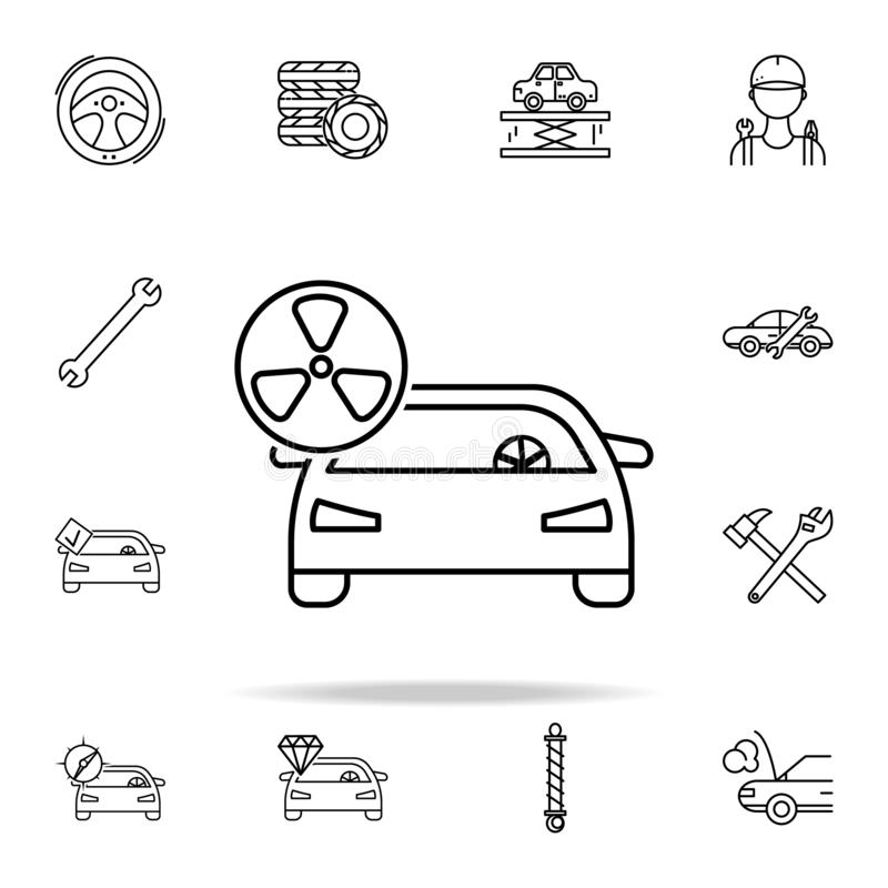 εικονίδιο ρύπανσης αυτοκινήτων Καθολικό εικονιδίων μερών υπηρεσιών και επισκευής αυτοκινήτων που τίθεται για τον Ιστό και κινητό διανυσματική απεικόνιση