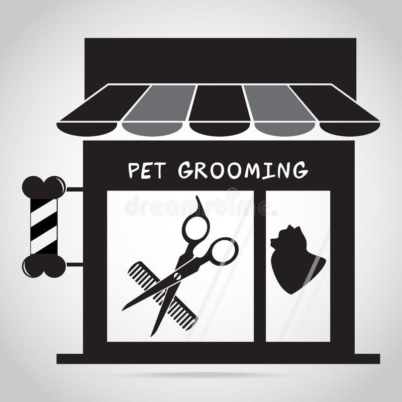 Εικονίδιο σαλονιών καλλωπισμού σκυλιών Απεικόνιση λογότυπων σαλονιών ομορφιάς της Pet ελεύθερη απεικόνιση δικαιώματος