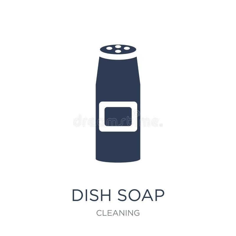Εικονίδιο σαπουνιών πιάτων Καθιερώνον τη μόδα επίπεδο διανυσματικό εικονίδιο σαπουνιών πιάτων στο άσπρο backg διανυσματική απεικόνιση