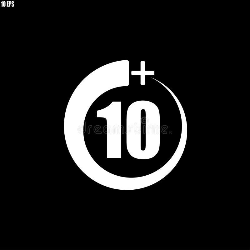 10+ εικονίδιο, σημάδι Εικονίδιο πληροφοριών για το όριο ηλικίας - διανυσματική απεικόνιση διανυσματική απεικόνιση