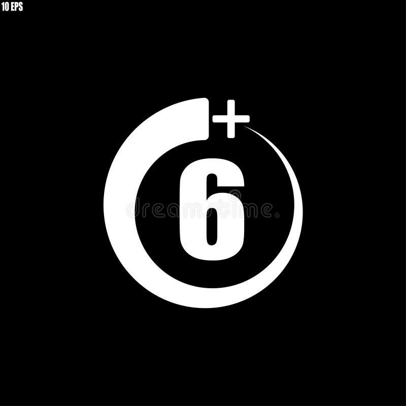 6+ εικονίδιο, σημάδι Εικονίδιο πληροφοριών για το όριο ηλικίας - διανυσματική απεικόνιση ελεύθερη απεικόνιση δικαιώματος