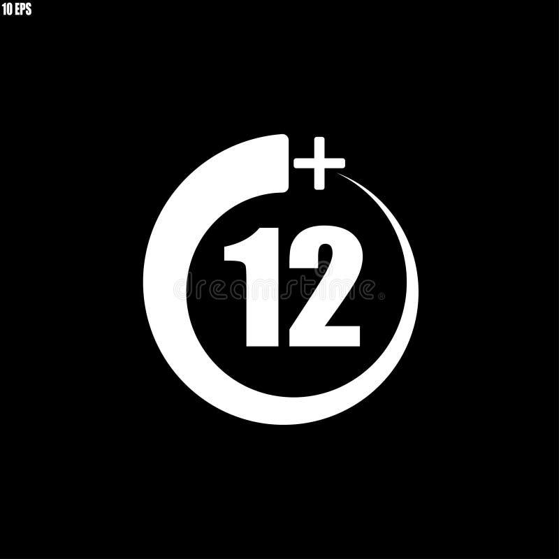 12+ εικονίδιο, σημάδι Εικονίδιο πληροφοριών για το όριο ηλικίας ελεύθερη απεικόνιση δικαιώματος
