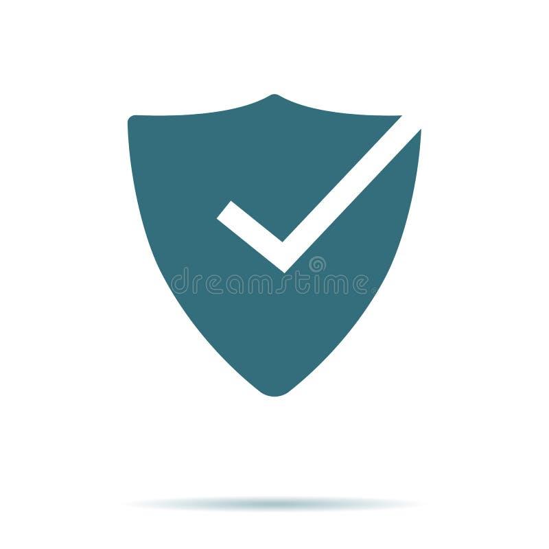 Εικονίδιο σημαδιών ελέγχου ασπίδων που απομονώνεται στο υπόβαθρο Σύγχρονο επίπεδο εικονόγραμμα, επιχείρηση, μάρκετινγκ, Διαδίκτυο ελεύθερη απεικόνιση δικαιώματος