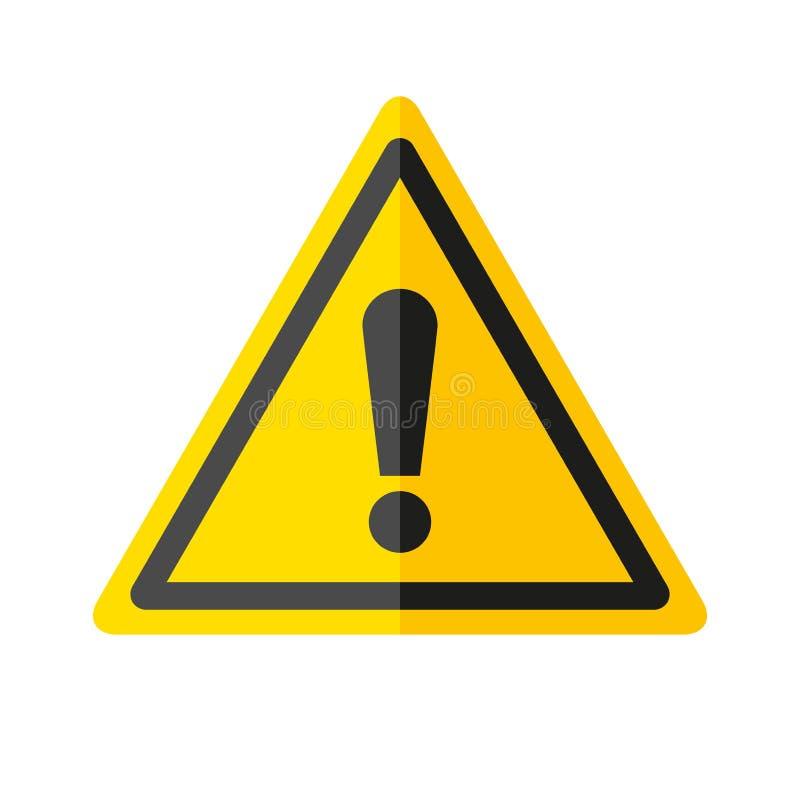 Εικονίδιο σημαδιών κινδύνου στο επίπεδο ύφος στο άσπρο υπόβαθρο, έμβλημα προσοχής στο κίτρινο τρίγωνο, διανυσματική απεικόνιση σχ διανυσματική απεικόνιση