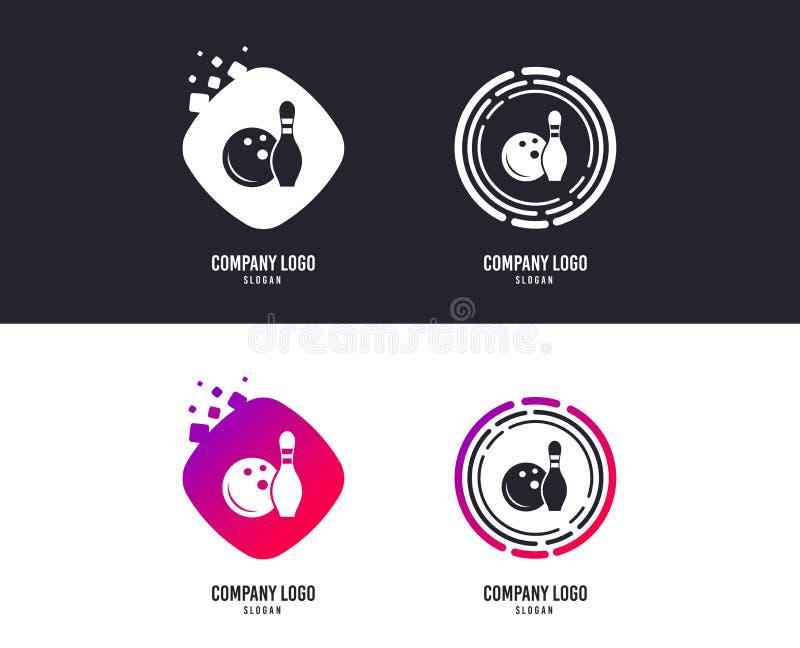 Εικονίδιο σημαδιών παιχνιδιών μπόουλινγκ Σφαίρα με skittle καρφιτσών διάνυσμα διανυσματική απεικόνιση