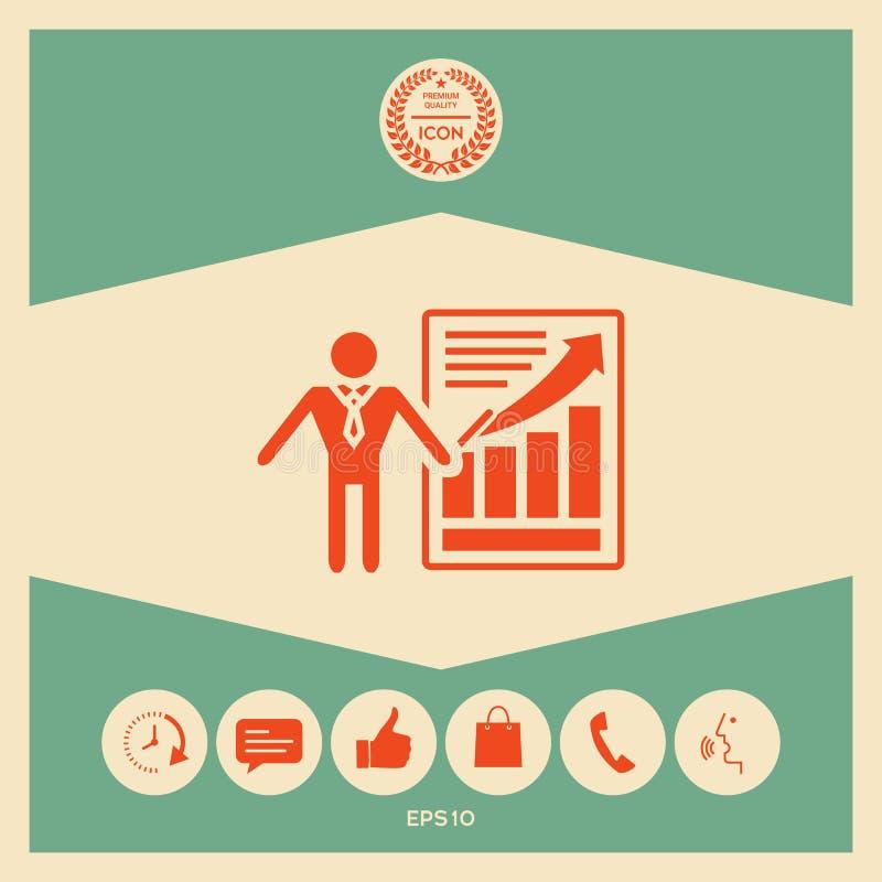 Εικονίδιο σημαδιών παρουσίασης Άτομο που στέκεται με το δείκτη κοντά στο infographic ελεύθερη απεικόνιση δικαιώματος