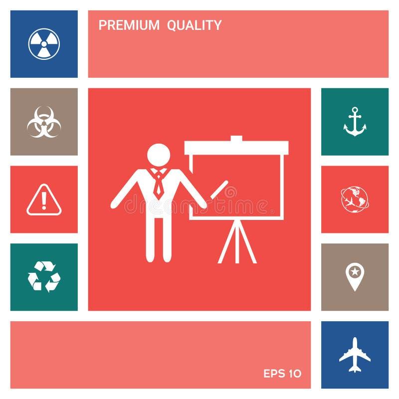 Εικονίδιο σημαδιών παρουσίασης Άτομο που στέκεται με το δείκτη κοντά στο διάγραμμα κτυπήματος Κενό κενό σύμβολο πινάκων διαφημίσε διανυσματική απεικόνιση