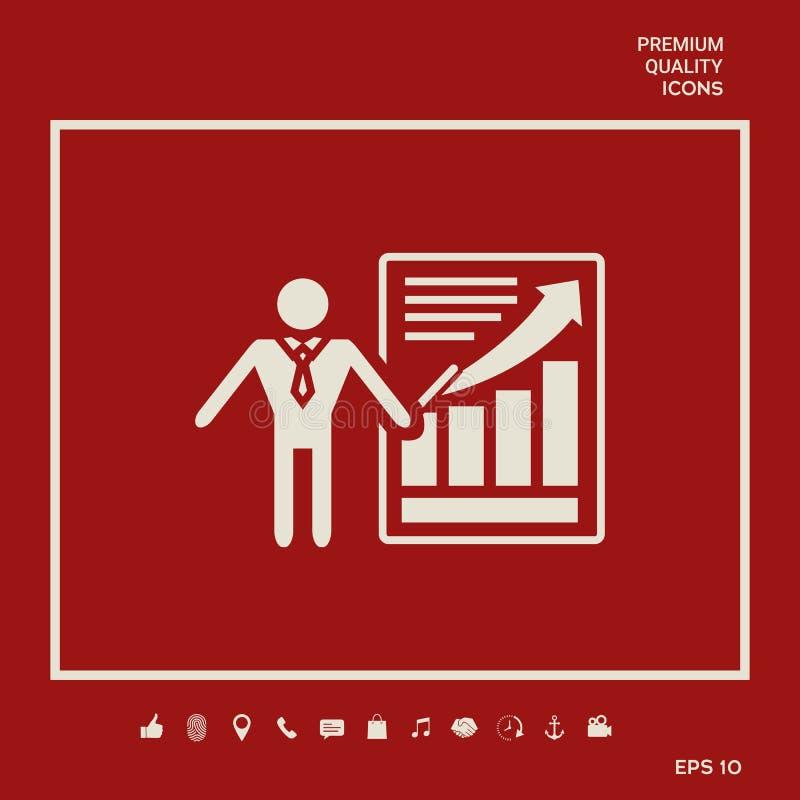 Εικονίδιο σημαδιών παρουσίασης Άτομο που στέκεται με το δείκτη κοντά στο infographic Γραφικά στοιχεία για το σχέδιό σας ελεύθερη απεικόνιση δικαιώματος