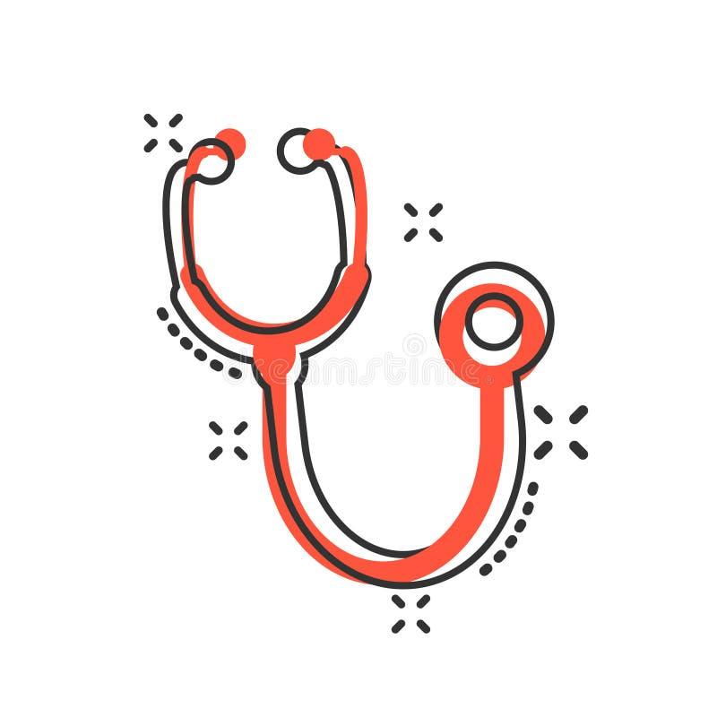 Εικονίδιο σημαδιών στηθοσκοπίων στο κωμικό ύφος Ιατρική διανυσματική απεικόνιση κινούμενων σχεδίων γιατρών απομονωμένο στο λευκό  ελεύθερη απεικόνιση δικαιώματος