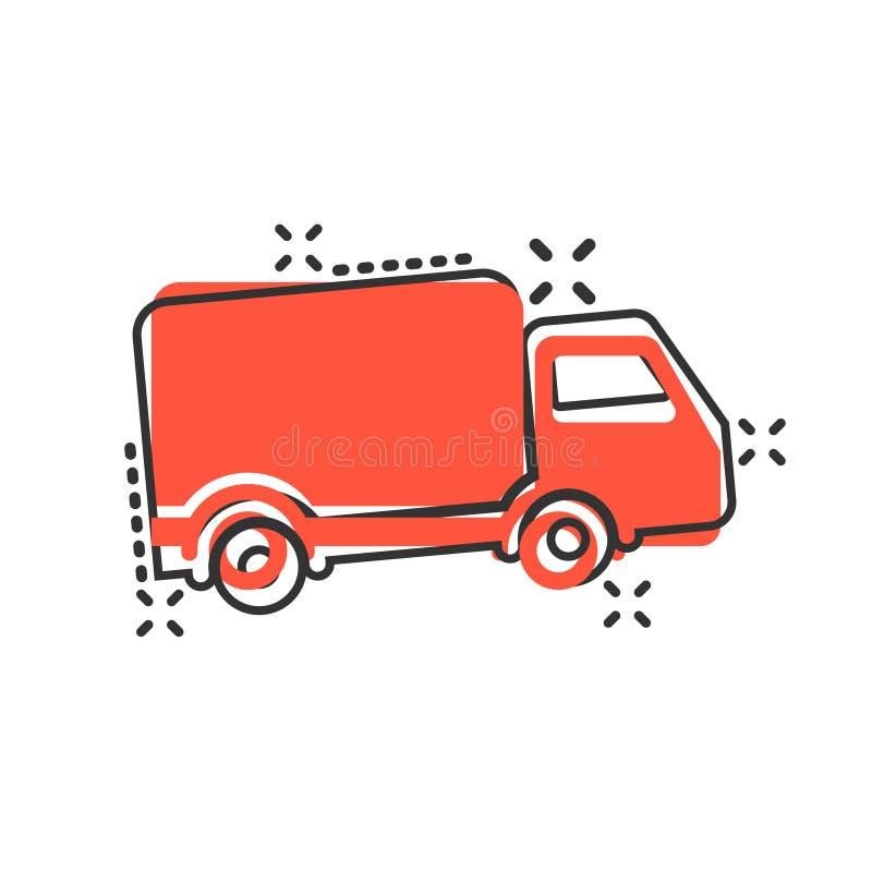 Εικονίδιο σημαδιών φορτηγών παράδοσης στο κωμικό ύφος Van vector απεικόνιση κινούμενων σχεδίων απομονωμένο στο λευκό υπόβαθρο Επι ελεύθερη απεικόνιση δικαιώματος
