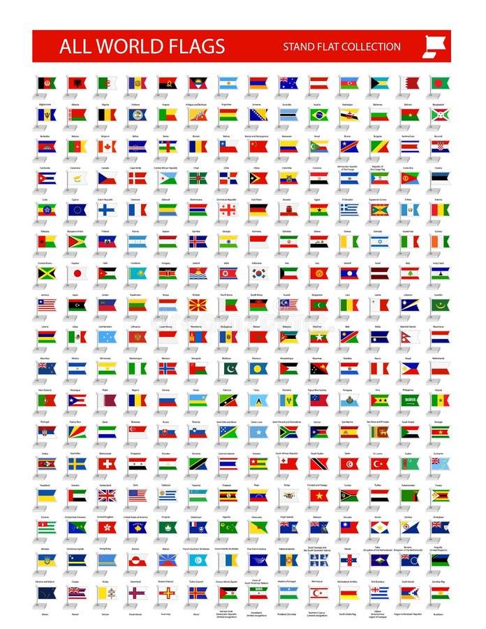 Εικονίδιο σημαιών στάσεων Όλες οι σημαίες παγκόσμιων χωρών απεικόνιση αποθεμάτων