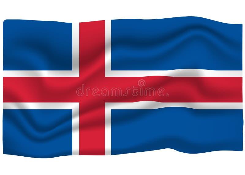Εικονίδιο σημαιών της Ισλανδίας Έμβλημα εθνικών σημαιών r διανυσματική απεικόνιση