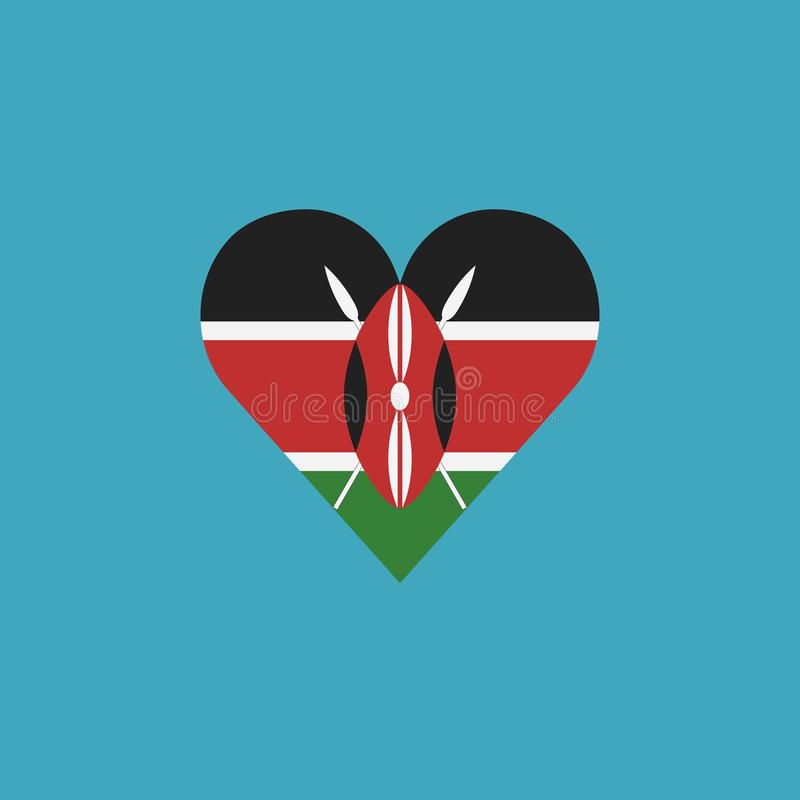 Εικονίδιο σημαιών της Κένυας σε μια μορφή καρδιών στο επίπεδο σχέδιο διανυσματική απεικόνιση